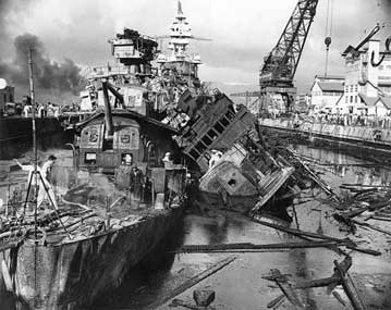 USS Cassin and Downes after Japanese attack on Pearl Harbor
