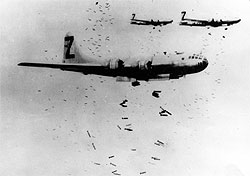 B-29s dropping incendiary bombs over Japan
