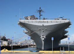 USS Hornet aircraft carrier at Pier 3 - Alameda Naval Air Station
